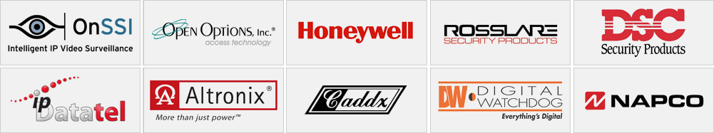 Technik Security Partner Manufacturers - Honeywell, DSC, Caddx, GE General Electric, UTC, Napco, Alarm.com, IPDatatel